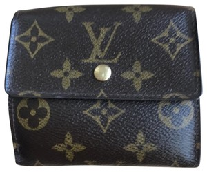 Louis Vuitton Brown Monogram Canvas leather Trifold Clutch Wallet Date Code # SD0024