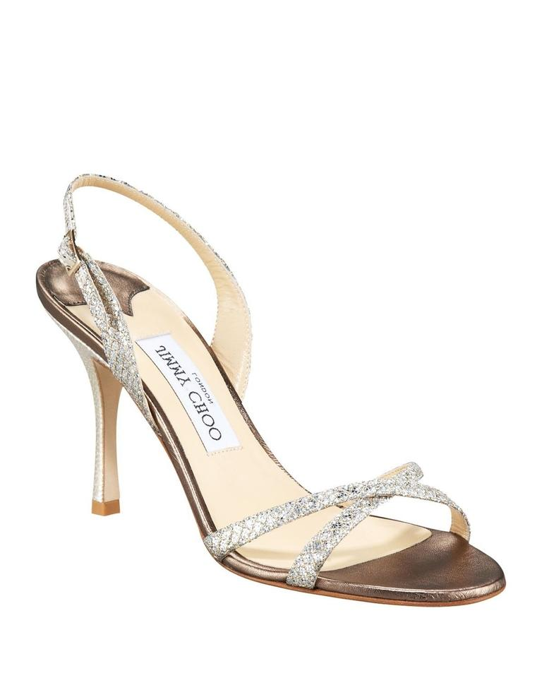 Jimmy Choo Silver India Slip Glitter Leather Open Toe Slingback Slip India Sandals 3b5b43