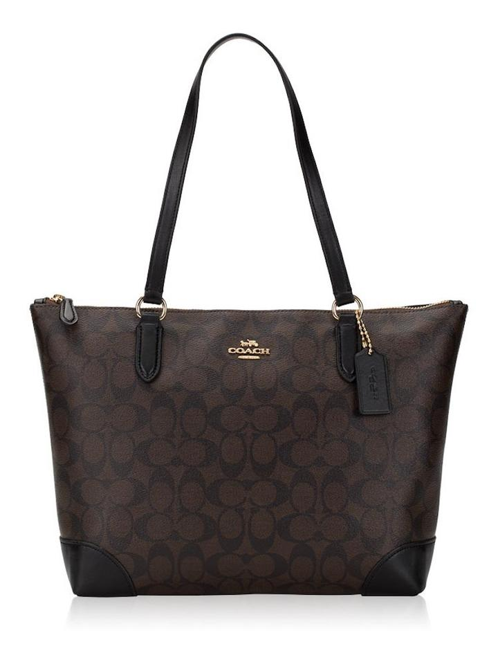 Coach Shoulder Bag New Classy Signature Logo Pattern Zipper Purse Dark Brown Coated Canvas And Leather Tote