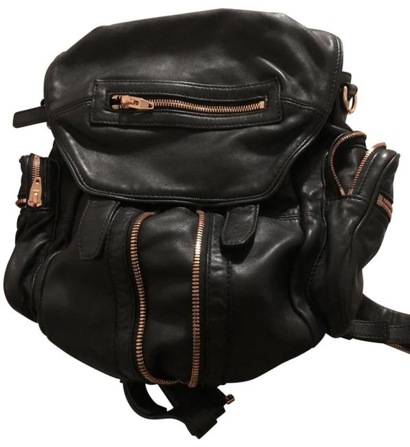 Item - Mini Marti with Rose Gold Hardware Black Lambskin Leather Backpack