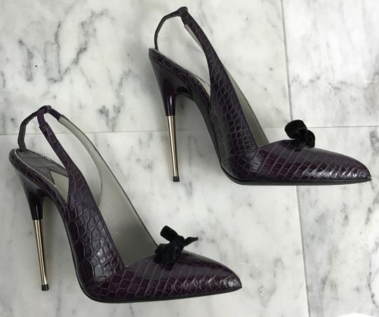 Tom Ford Vintage Alligator Exotic 130mm Purple Pumps Image 3