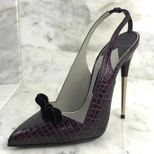 Tom Ford Vintage Alligator Exotic 130mm Purple Pumps Image 5