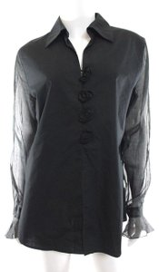 Anne Fontaine Shirt Rosette Top Black