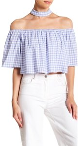 Endless Rose Top Periwinkle Blue & White
