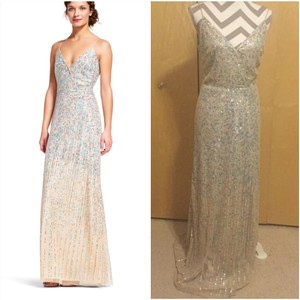 Adrianna Papell Multicolor Polyester Beaded Spaghetti Strap Gown Modern Bridesmaid/Mob Dress Size 6 (S)