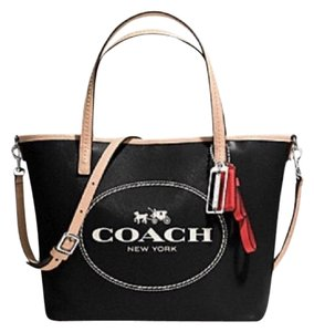 Coach Tote in Black/Natural/Red/White/Silver