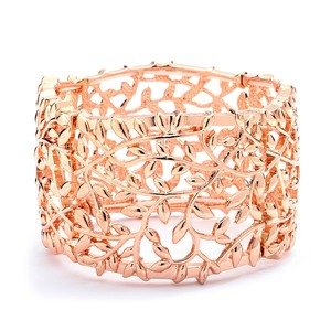 Mariell Open Vine Rose Gold Stretch Bracelet For Prom Homecoming Or Wedding 4115b-rg