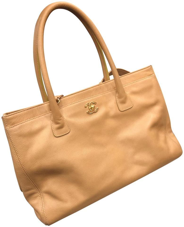 19497e440e8217 Chanel Shopping Cerf Executive Shopper Large Gold Hardware Beige Calfskin  Leather Tote