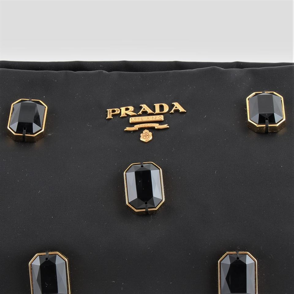 8ace81f0d668 Prada Tessuto Pietre Jeweled Black Nylon Clutch - Tradesy