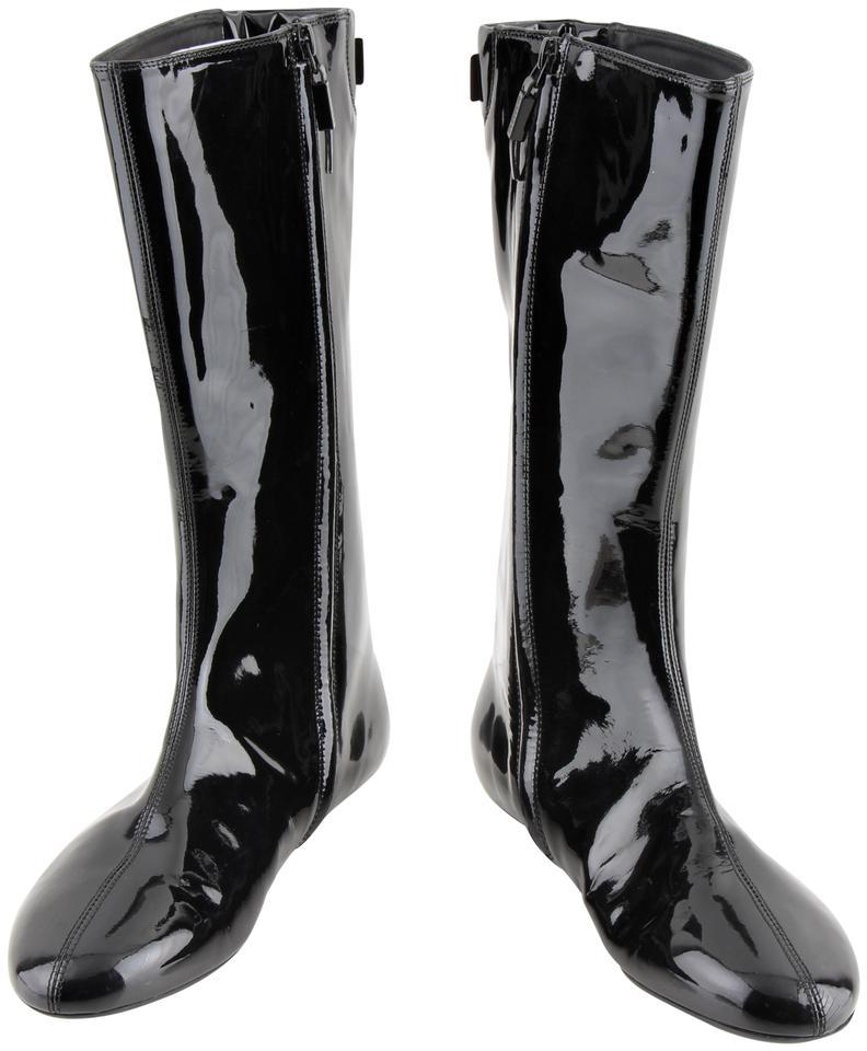 9c7054738a5 Burberry Black Patent Leather Flat Boots/Booties Size US 9.5 Regular ...