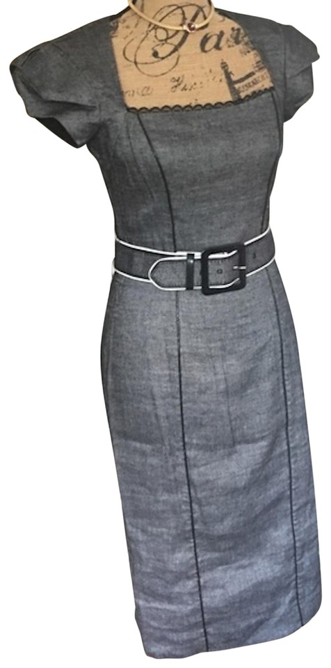 bebe Gray/Black Belted Ruched Sleeve Xsmall