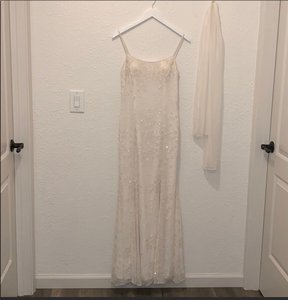 Scala White Silk and Polyester Beaded Gown with Sheer Scarf Modest Wedding Dress Size 8 (M)