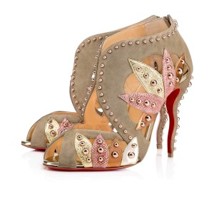 Christian Louboutin Venecage Stiletto Studded Bootie Glitter grey Pumps