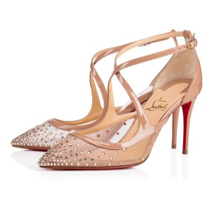 Christian Louboutin Pigalle Stiletto Classic Twistissima Strass nude Pumps