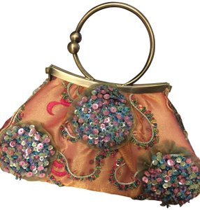 Mary Frances Wristlet In Turquoise Pink Green Gold