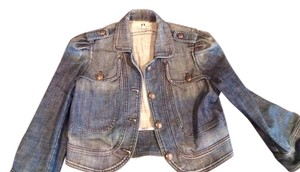 Juicy Couture Jean Crop 3/4 Sleeves Sailor Puffy Nautical Blue Jean Womens Jean Jacket