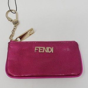 Fendi Pink leather Fendi Zucca logo coin pouch