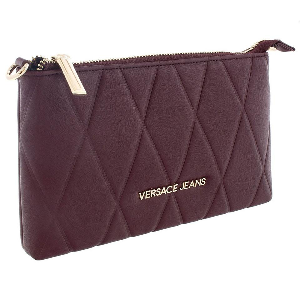 2c9e5918385c Versace Jeans Collection Dark Grey Wallet On Chain Oxblood Faux ...