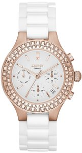 DKNY DKNY Chambers NY2225 White Ceramic Rose Gold Glitz Watch