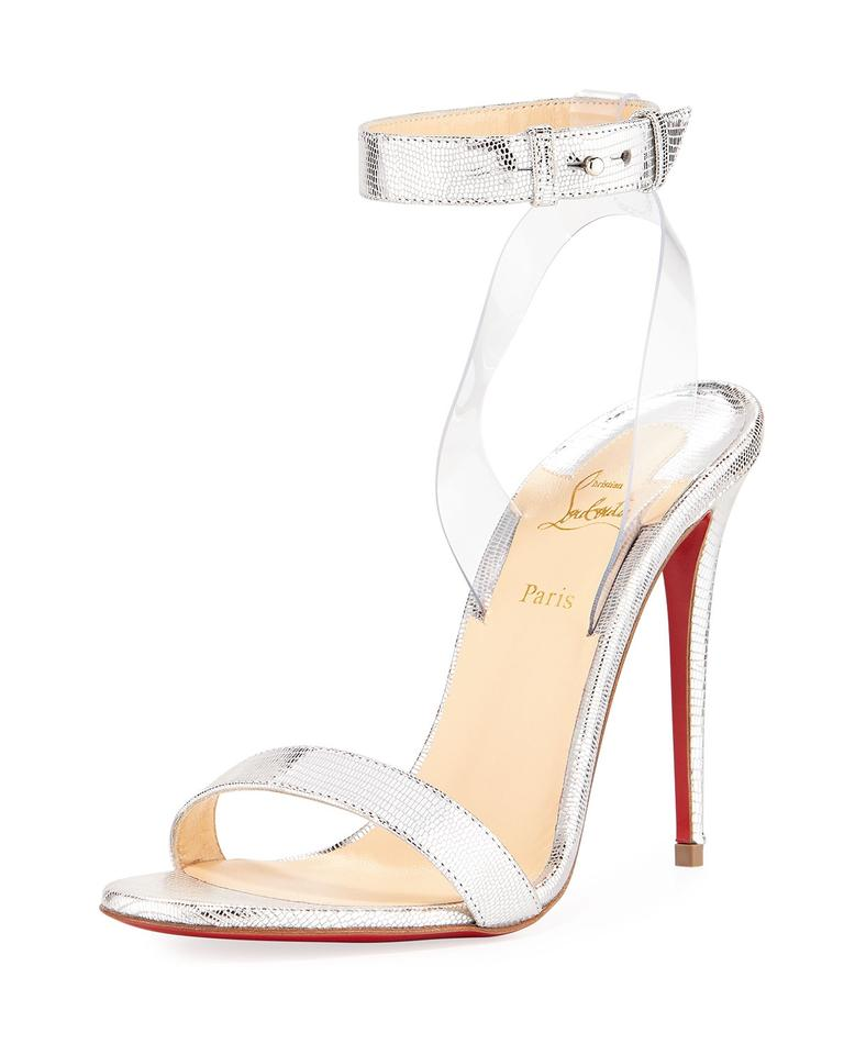new concept 4c516 bebf3 Christian Louboutin Silver Jonatina Metallic Lizard-embossed Red Sole  Sandals Size EU 38.5 (Approx. US 8.5) Regular (M, B)