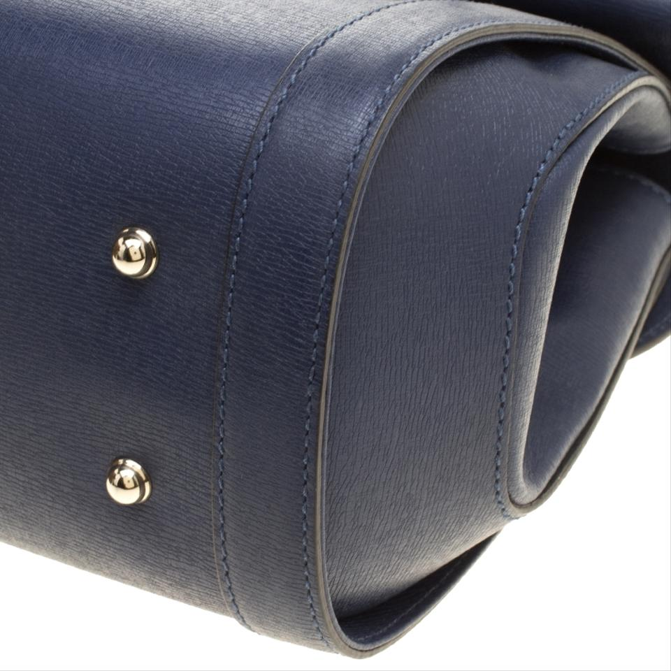 02ae3655660a70 Gucci New Bullet Bamboo Top Handle Navy Blue Leather Satchel - Tradesy