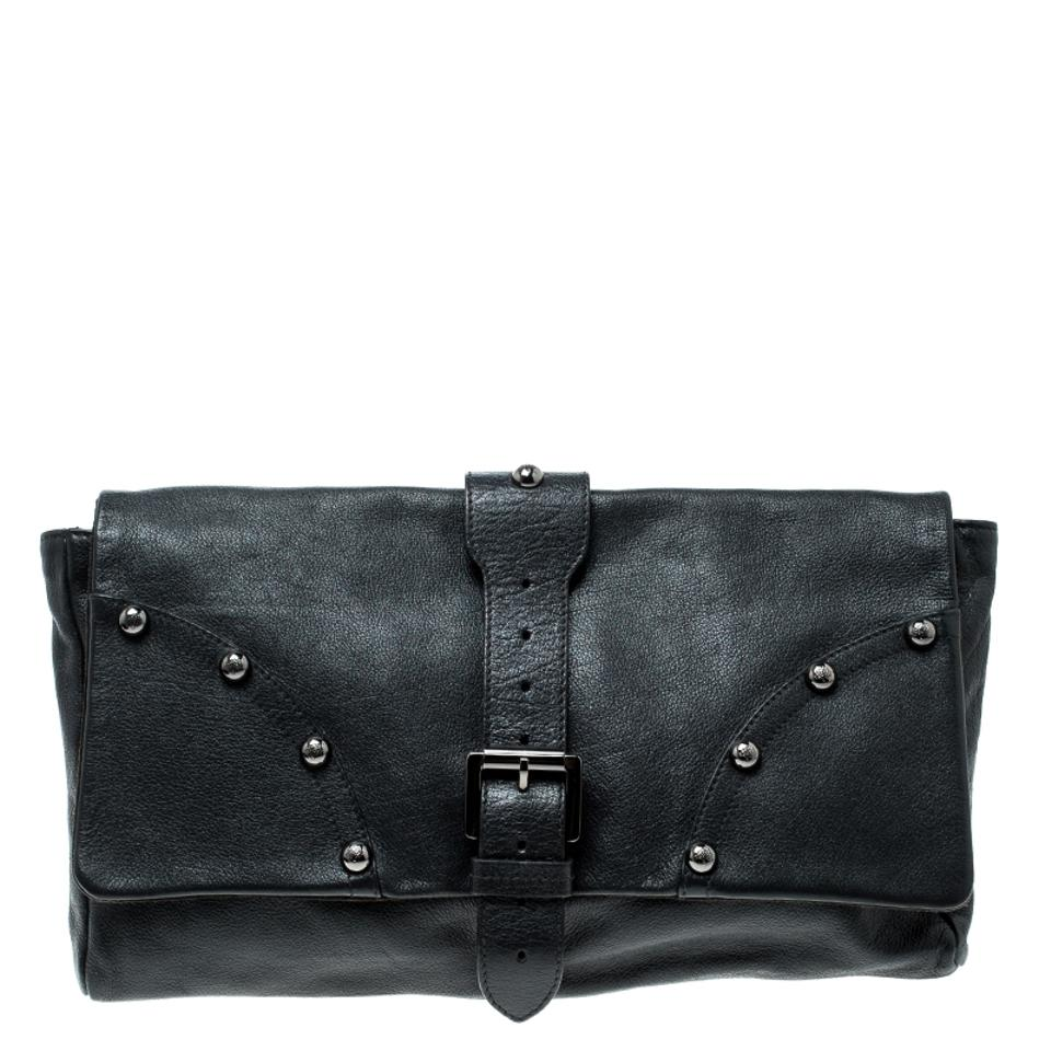 Mulberry Push Lock Black Leather Clutch - Tradesy 93ae1e2378125