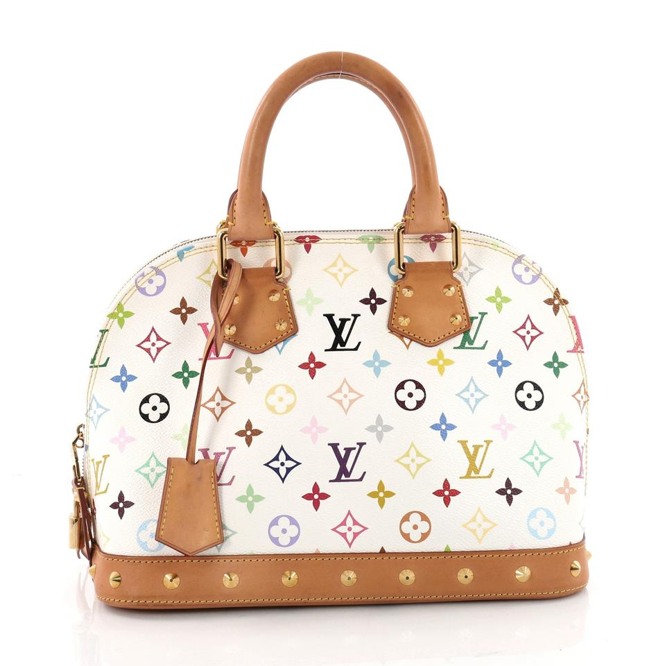 bc631d0bc7d Louis Vuitton Alma Nm Handbag Monogram Multicolor Pm White Canvas Satchel  60% off retail