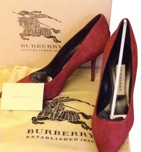 Burberry Suede Leather Sole Oxblood Pumps