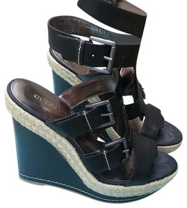 Marciano Espadrille Leather Black tan Wedges