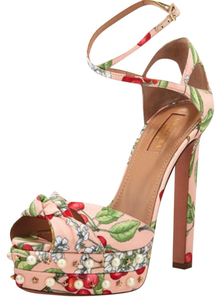 get online united states the best Aquazzura Multicolor Harlow Pearlescent Cherry Print Sandals Size EU 40  (Approx. US 10) Regular (M, B) 60% off retail