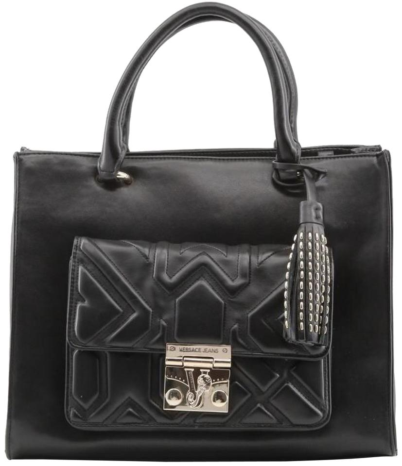 6397ad9937f6 Versace Jeans Collection Handbag Tote Black Synthetic Leather ...