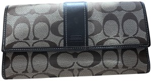 Coach Coach Brown Tan Leather Signature Fabric and Checkbook Holder