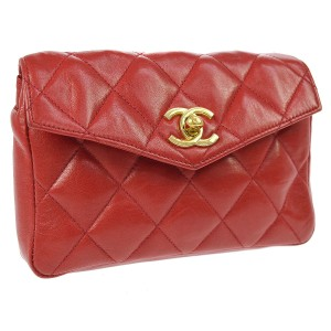 Chanel Leather Limited Edition Vintage Quilted European red Clutch