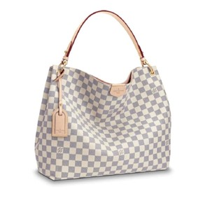 Louis Vuitton Graceful Damier Azur Rose Ballerine Tote in White