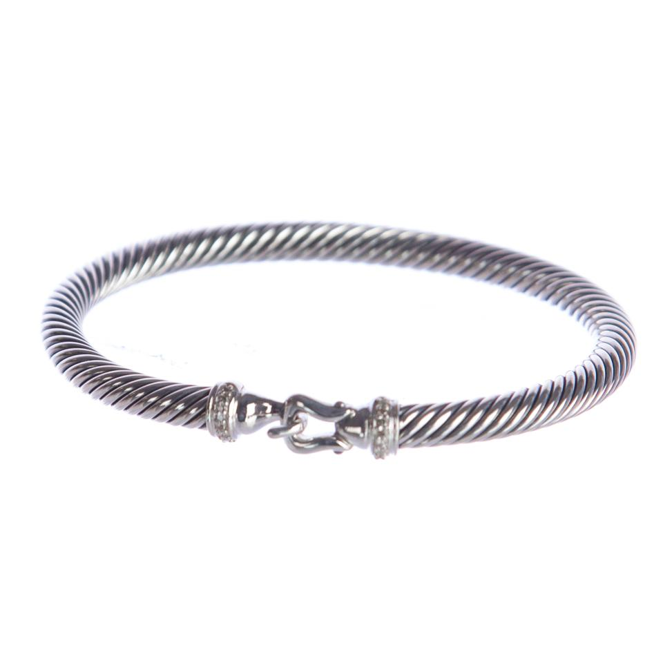 David Yurman Silver Cable Buckle With Diamonds 5mm Nwot Bracelet 40 Off Retail