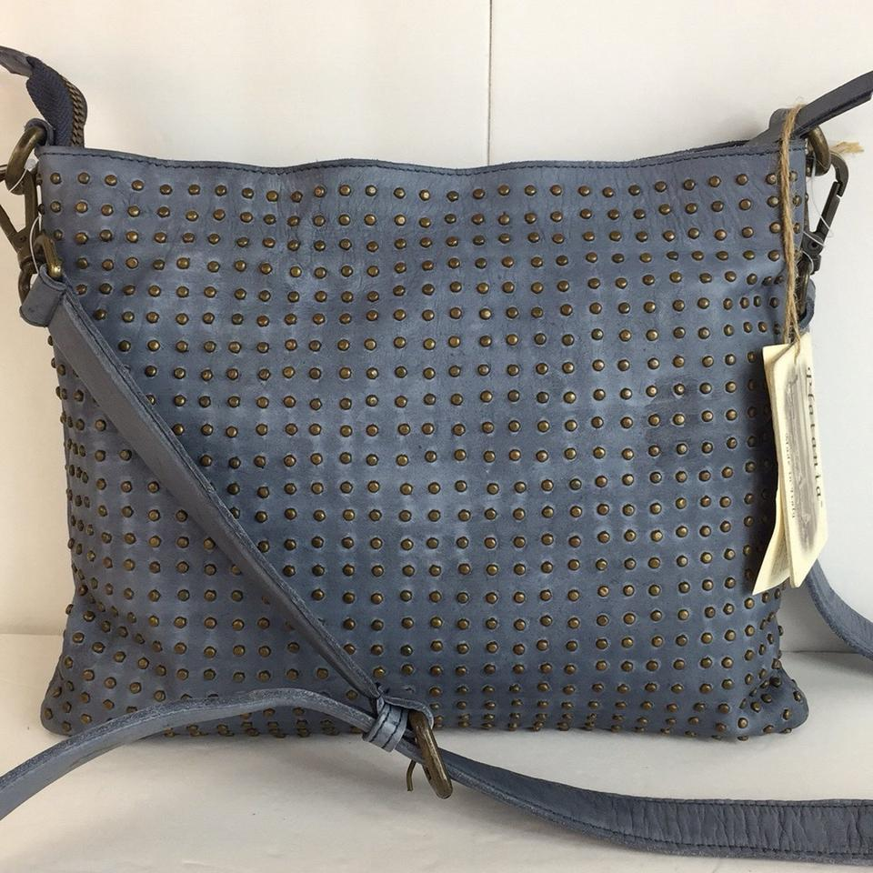 New Fully Studded Made In Italy Dark Blue Leather Cross Body Bag ... 630c599dd1