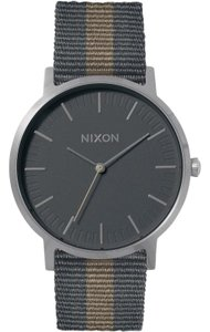 Nixon A1059-2440 Porter Mens Multicolor Canvas Band Grey Analog Dial Watch