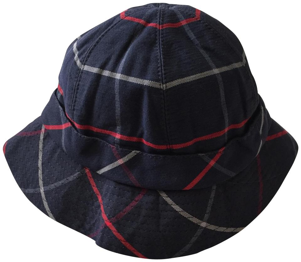 a12baac4db0 Burberry Navy Blue Red and Gray Check Made In England Bucket Hat ...
