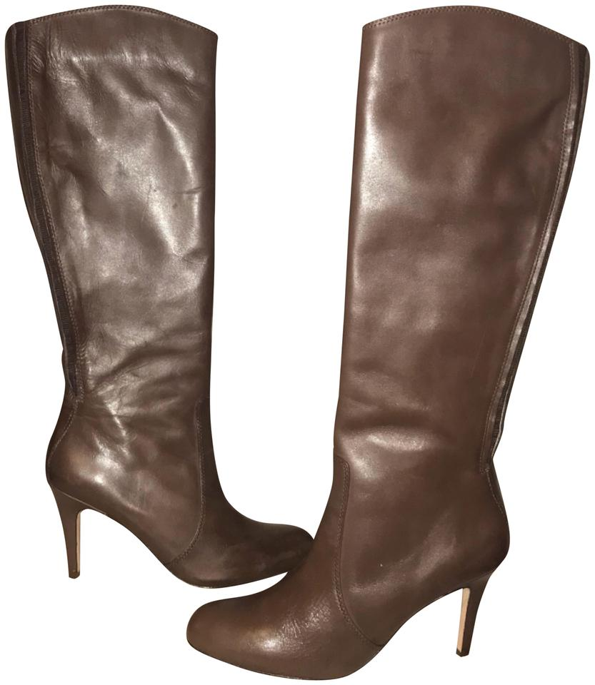 b0bb5e3514a Lands  End Brown Leather Knee High Stiletto Boots Booties Size US 8 ...