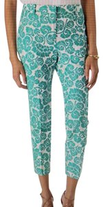 Tory Burch Straight Pants turquoise and ivory