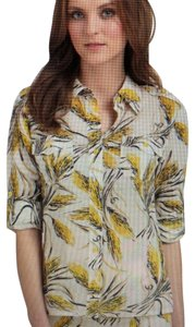 Tory Burch Bridget Blouse. Button Up Button Down Shirt ivory and yellow