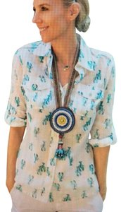 Tory Burch Blouse Lobster Button Down Shirt ivory and blue