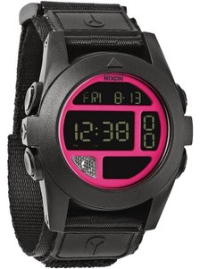 Nixon A489-480 Baja Unisex Black Canvas Band With LCD Digital Dial Watch