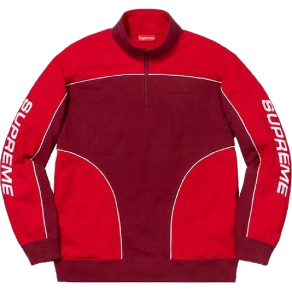 Supreme Red Speedway Half Zip Sweatshirt Cardinal Man Tee Shirt Size ... d693366e8