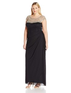 494788a8b82c Xscape Black/Nude Mesh with Bead/Illusion Top Black/Nude Long Formal ...