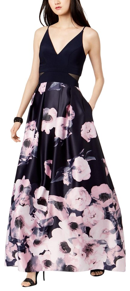76b727f5d9eb Xscape Navy/Lilac Illusion-inset Solid & Floral-print Gown Navy ...
