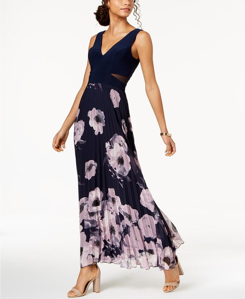 Xscape Navyblush Pleated Floral Print Gown Navyblush Long Formal