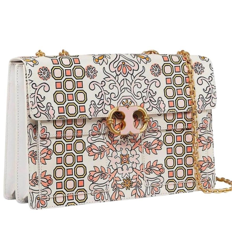 4388908d3f6f Tory Burch Gemini Link Chain Printed Hicks Garden Leather Shoulder ...