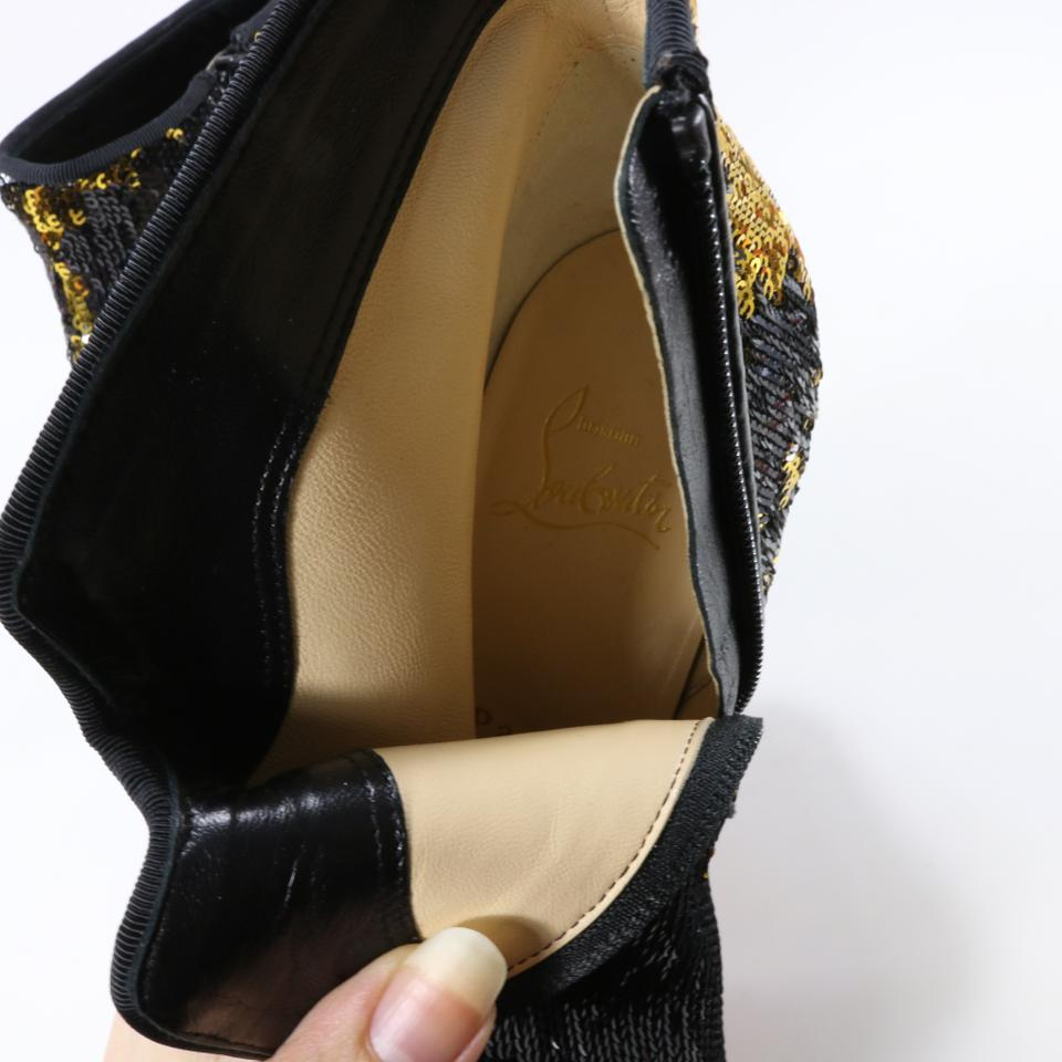 3a79823ef43f Christian Louboutin Black Disco 70s Sequin Paillettes Gold 55mm Ankle B015  Boots Booties Size EU 37 (Approx. US 7) Regular (M