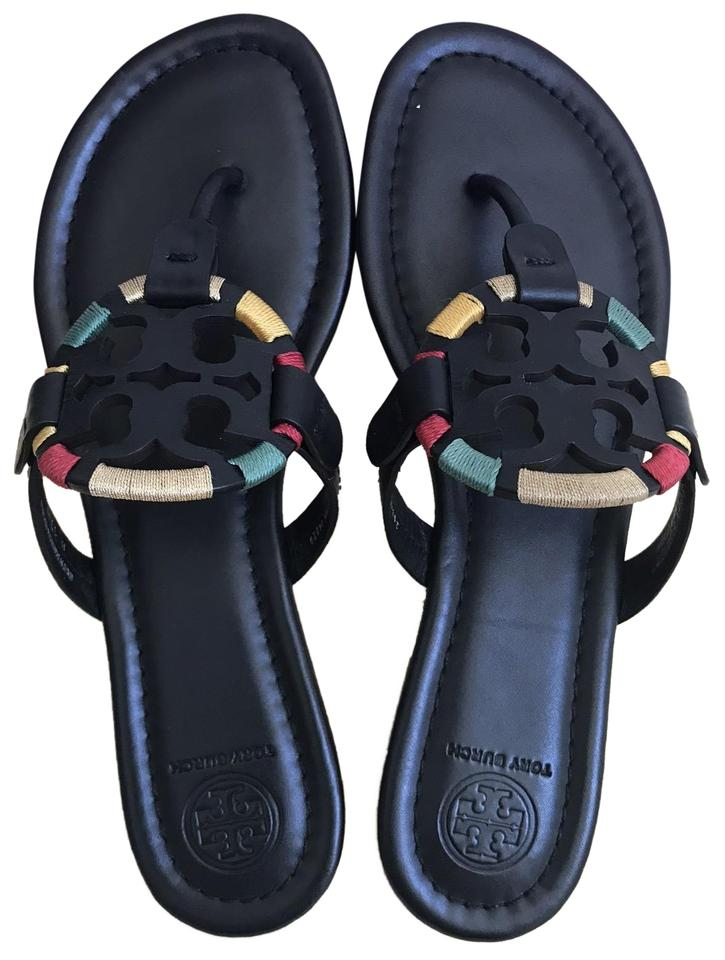054c4b188 Tory Burch Black Embroidered Miller Sandals Size US 7 Regular (M